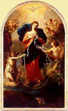 Capela Nossa Senhora Desatadora De Nos : Pintura  de la Virgen Desatanudos .