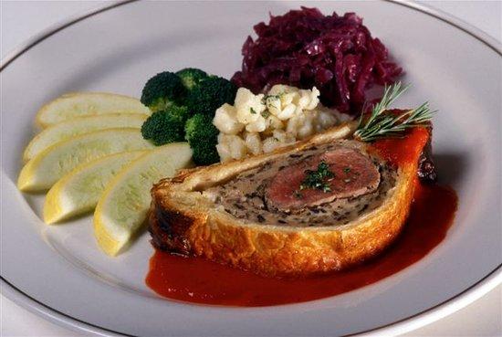 Stiegler's Austrian Restaurant & Bar: Pork Tenderloin Wellington with spätzle, red cabbage and vegetables