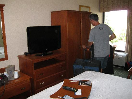 Baymont Inn and Suites Greenville-Haywood: TV, closet and desk area. Couch is off camera to the right of the picture.