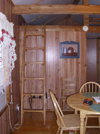 Creekside Cabins: As you walk into the cabin.  Dining table and ladder to loft
