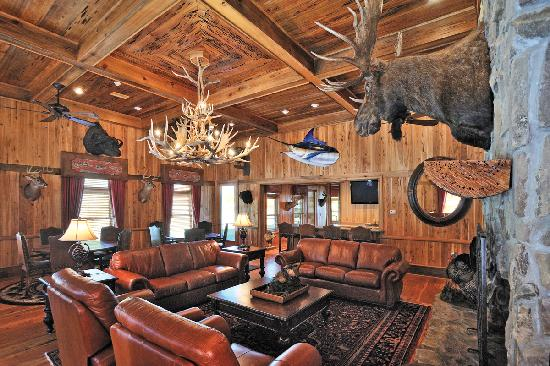 "Honey Lake Plantation Resort & Spa: Heart pine floors, cypress walls, and a magnificent ""pecky-wood"" cypress ceiling adorn the lodge"
