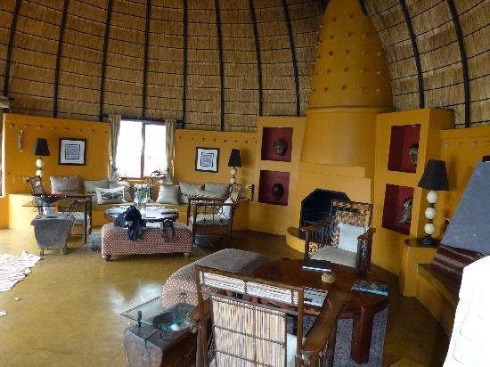 Hoyo-Hoyo Safari Lodge: La salle de séjour avec sa cheminée et sa bibliothèque