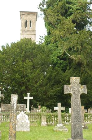 Church of St. Mary and St. Nicholas: View of campanile (tower) from church yard