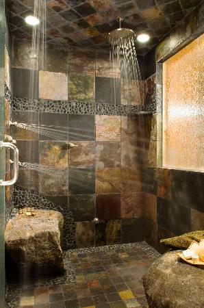 "The Fern Lodge: ""Forest"" has an amazing slate multi head deluge shower!"