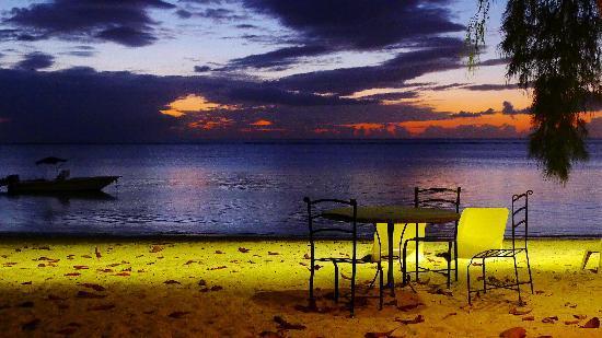 Les Lataniers Bleus: Strand in Abendstimmung