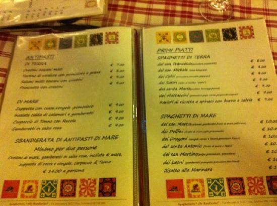 Alle Bandierine - Spaghetteria : Menu in Italian