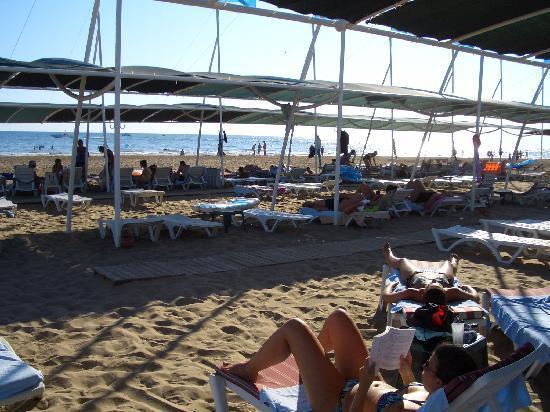 Hotel Terrace: Überdeckte Liegeplätze mit Blick zum Meer