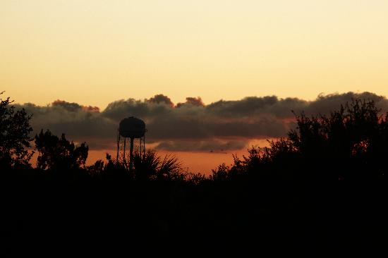 Old Fenimore Mill Condos: Sunset from unit 9F balcony (using 200mm zoom lens--the water tower is far in the distance)