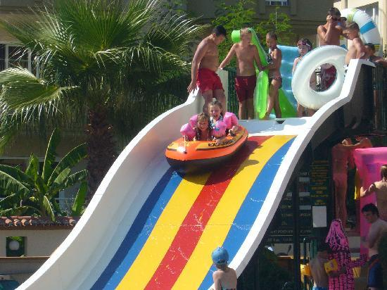 Club Exelsior: my daughter on the water slide