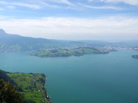 Hotel Villa Honegg: Aussicht auf den Vierwaldstättersee mit Luzern von Hammetschwand