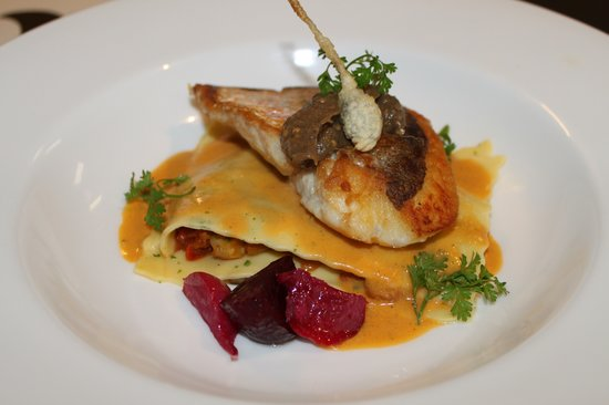 Bizerca Bistro: Filet of Silver Fish with Provençal Lasagna, Aubergine Caviar and Ginger Sauce