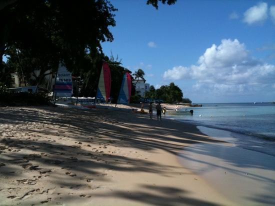 Tamarind by Elegant Hotels: Beach relatively quiet by the end of August.