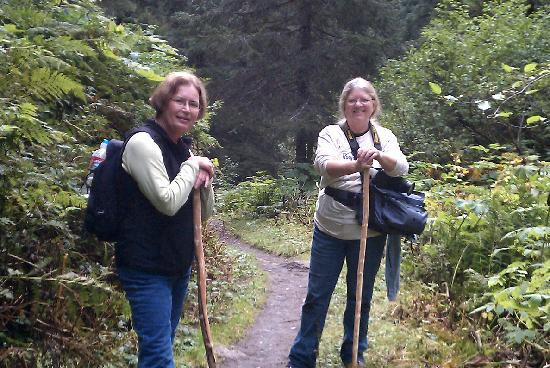Alaska Creekside Cabins: Loaner custom hiking sticks in use-Lost Lake Trail