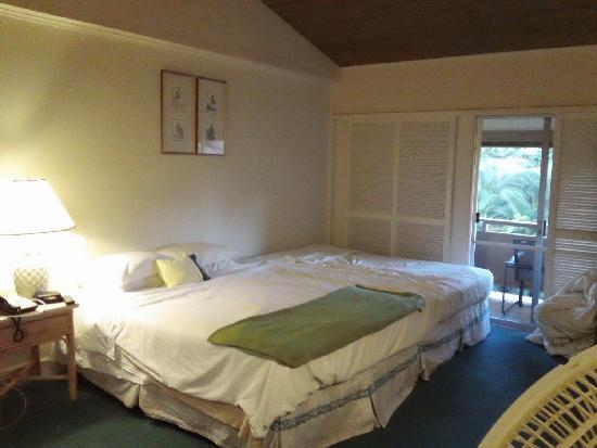 Kaanapali Ocean Inn: we got a room with 2 double beds, so we pushed them together.