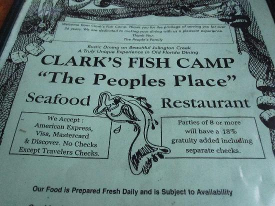 Majestic indian tiger picture of clark 39 s fish camp for Fish camp menu
