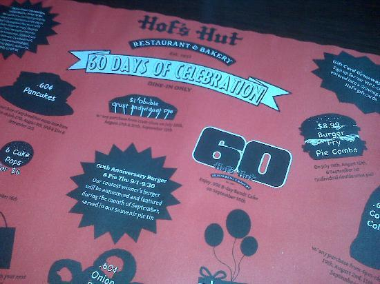 Hof's Hut: 60th Anniversary Menu Advertisement