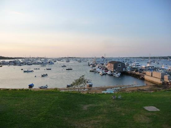 Narragansett Inn: harbor view from porch at twilight