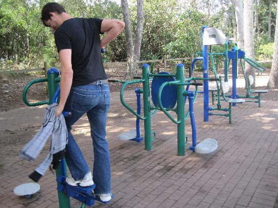 Flashpackers Hervey Bay: The gym facilities you can use on the walk to the beach!