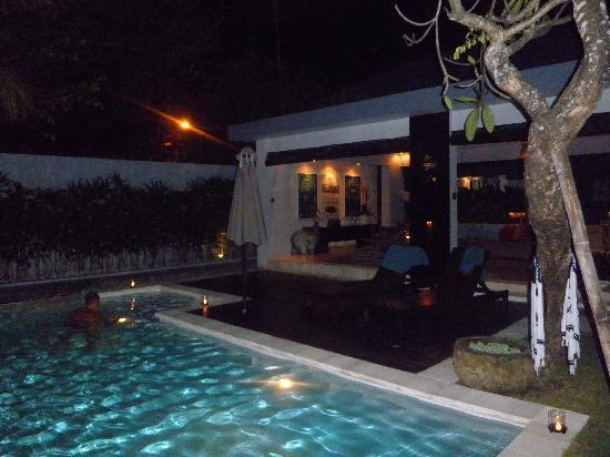 Kembali Villas: enjoying a night swim