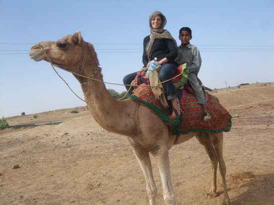 India: Riding camel in Jaisalmer