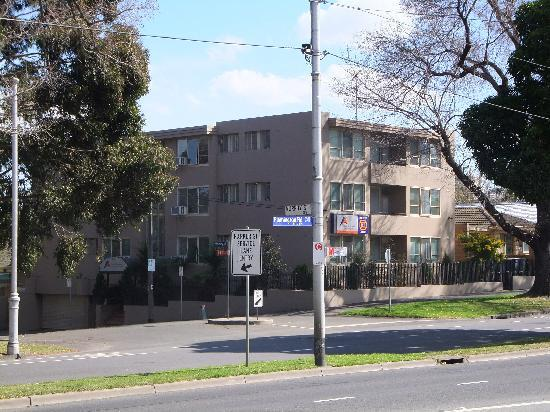Apartments on Flemington: View from the tram stop on Flemington Road
