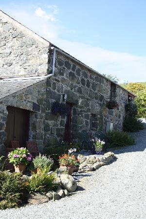Tyddyn Iolyn Farmhouse: The Stable & patio.