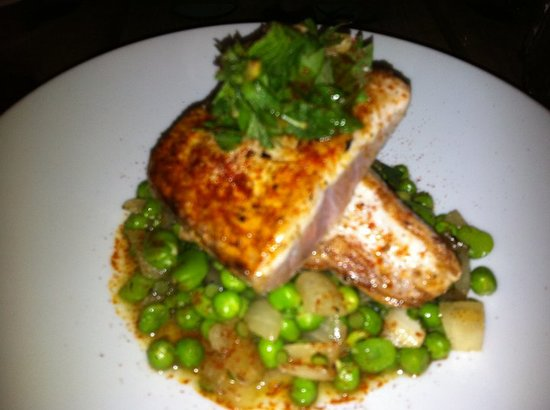 Saffron Mediterranean Kitchen : Yellowtail with fava beans and sweet peas
