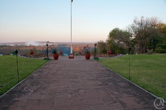 The Victoria Falls Hotel: View towards Victoria Falls bridge and falls