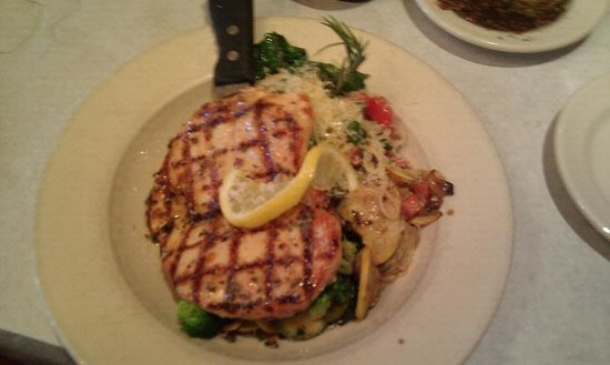 Johnny Carino's: lemon rosemary chicken on a bed of angel hair pasta and veggies