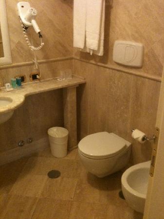 Hotel San Giorgio: Bathroom.  Apparently, the hotel thinks its a joke to expect handtowels