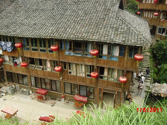 Jin Zhu Zhuang Nationality Village: beautiful houses on the hilltop