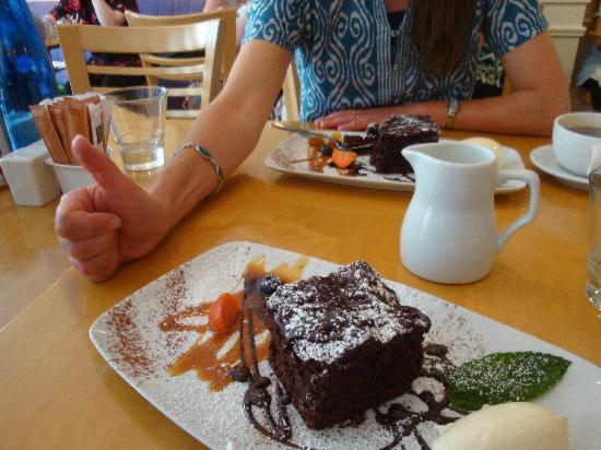 "Cafe Sol Bistro: That's my cousin's thumbs-up ""like"" for the chocolate cake."
