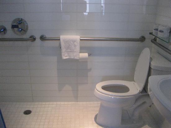 Hotel Le Bleu: Weird shower setup = wet floor