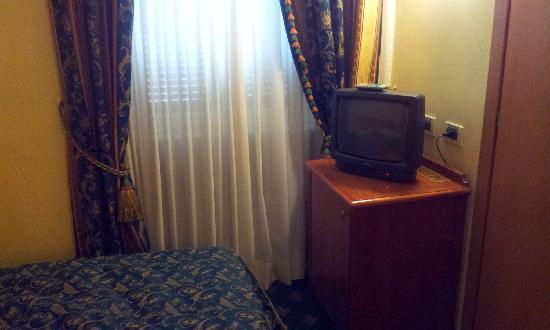 Champagne Palace: Room window and TV