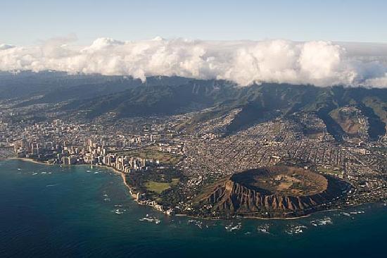 Hyatt Regency Waikiki Beach Resort & Spa: Aerial view of Waikiki and the volcano.