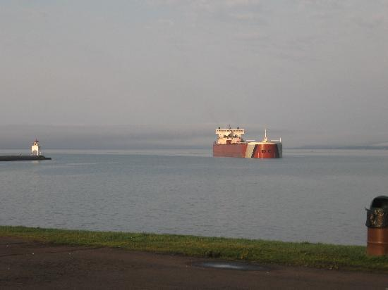 Burlington Bay Campground: Ore ship entering Agate Bay to fill with iron ore