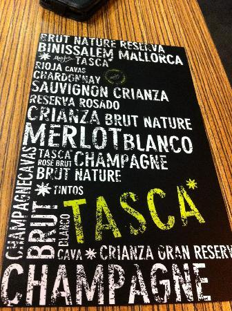 Tasca De Blanquerna : Back of the menu