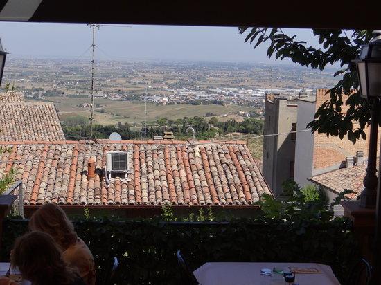 Bertinoro, İtalya: Vista dalla terrazza ahimè con foschia