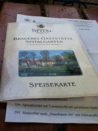 Spitalgarten: the menu...
