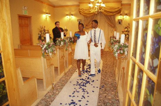 Monbelami Wedding Chapel: walking down the aisle lined with my rose petals