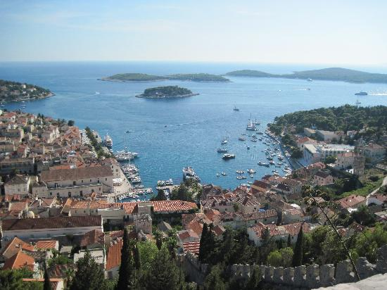 Hotel Park Hvar: View of the Hvar harbor and hotel from Fortress