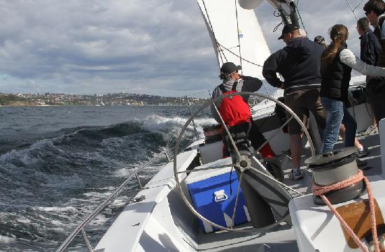 Explore Sailing - America's Cup Sailing Experience: 'Musto' (formerly 'Kookaburra') doing 14 knots on Sydney Harbour