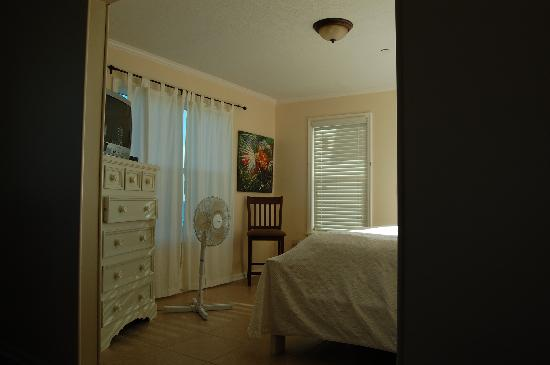 The Saint Augustine Beach House: The bedroom with King size bed- we borrowed the fan