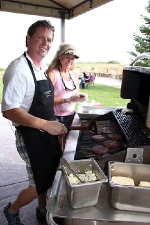 Calcareous Vineyard: Cooking hamburgers for guests at the Fall, 2011 pickup party.