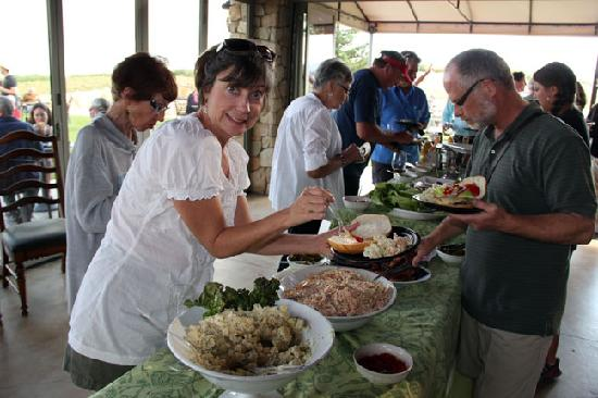 Calcareous Vineyard: Lining up for food at the pickup party.