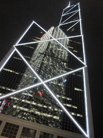 Hong Kong, China: HK Bank of China at night
