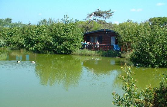 Shorefield Country Park: Cabin on waterside