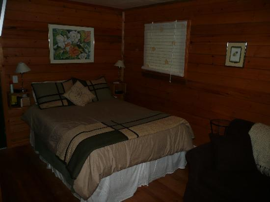 Across The Creek Cabins: the cozy and comfortable bed