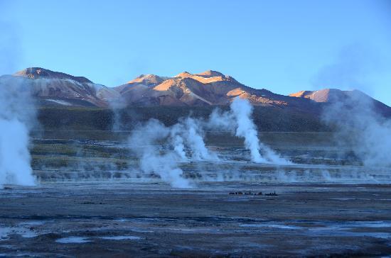 San Pedro de Atacama, ชิลี: Vista parcial com o sol chegando