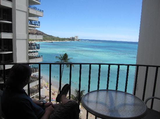 "Outrigger Waikiki Beach Resort: View from our ""Ocean View"" room- Fabulous!!!"
